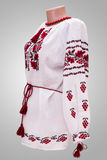 Θηλυκή εθνική λαογραφία πουκάμισων, ένα λαϊκό κοστούμι Ουκρανία, στο γκριζόλευκο υπόβαθρο Στοκ Εικόνες