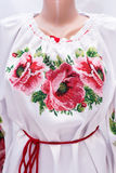 Θηλυκή εθνική λαογραφία πουκάμισων, ένα λαϊκό κοστούμι Ουκρανία, στο γκριζόλευκο υπόβαθρο Στοκ φωτογραφία με δικαίωμα ελεύθερης χρήσης
