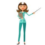 Θηλυκή κάνοντας παρουσίαση νοσοκόμων επίπεδο illustrati κινούμενων σχεδίων διανυσματική απεικόνιση