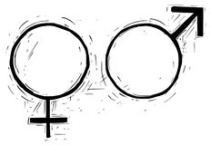 Θηλυκή και αρσενική απεικόνιση συμβόλων σχεδίων χεριών Στοκ Εικόνες