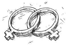 Θηλυκή και θηλυκή απεικόνιση συμβόλων σχεδίων χεριών Στοκ φωτογραφία με δικαίωμα ελεύθερης χρήσης