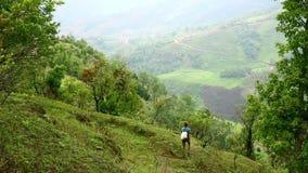 Θηλυκή καυκάσια οδοιπορία τουριστών που περπατά στα himalayan βουνά, Νεπάλ απόθεμα βίντεο