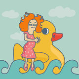 Θηλυκή κολυμπώντας πάπια κορδελλών υποβάθρου έννοιας ελεύθερη απεικόνιση δικαιώματος