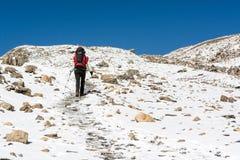 Θηλυκή οδοιπορία σε ένα χιονώδες τοπίο βουνών στοκ εικόνα με δικαίωμα ελεύθερης χρήσης