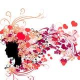 Θηλυκή σκιαγραφία με τις floral καρδιές hairstyle και του βαλεντίνου Στοκ Εικόνα