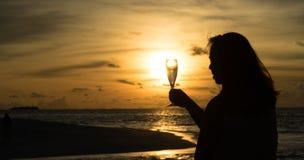Θηλυκή σκιαγραφία με το κρασί στο ηλιοβασίλεμα Στοκ Φωτογραφία