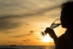 Θηλυκή σκιαγραφία με το κρασί στο ηλιοβασίλεμα Στοκ φωτογραφίες με δικαίωμα ελεύθερης χρήσης