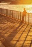 Θηλυκή σκιαγραφία που στέκεται ενάντια στο φράκτη και thame τον ποταμό Στοκ Φωτογραφία