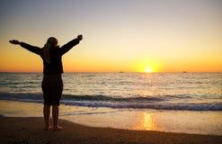 Θηλυκή σκιαγραφία seacoast Στοκ Φωτογραφίες