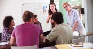 Θηλυκή συνεδρίαση του 'brainstorming' διευθυντών κορυφαία στην αρχή απόθεμα βίντεο