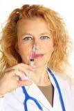 Θηλυκή σύριγγα εκμετάλλευσης γιατρών Στοκ Εικόνα