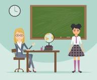 Θηλυκοί δάσκαλος και μαθήτρια στη σχολική στολή Διανυσματική επίπεδη απεικόνιση κινούμενων σχεδίων Ο εκπαιδευτικός εξετάζει το σπ ελεύθερη απεικόνιση δικαιώματος