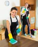 Θηλυκοί καθαριστές που καθαρίζουν το δωμάτιο Στοκ φωτογραφίες με δικαίωμα ελεύθερης χρήσης