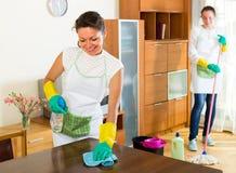 Θηλυκοί καθαριστές που καθαρίζουν το δωμάτιο Στοκ Εικόνες