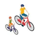 Θηλυκοί και αρσενικοί ποδηλάτες που οδηγούν σε ένα ποδήλατο Επίπεδη τρισδιάστατη isometric διανυσματική απεικόνιση Στοκ φωτογραφία με δικαίωμα ελεύθερης χρήσης