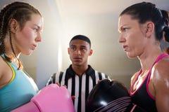 Θηλυκοί μπόξερ που εξετάζουν ο ένας τον άλλον ενάντια στο διαιτητή Στοκ Εικόνες