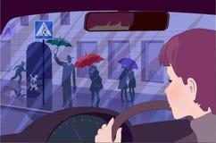 Θηλυκοί προσέχοντας νέοι οδηγών σε μια διάβαση πεζών Στοκ φωτογραφία με δικαίωμα ελεύθερης χρήσης