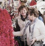 Θηλυκοί συνταξιούχοι που αγοράζουν τις διακοσμήσεις Χριστουγέννων Στοκ Εικόνες
