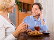 Θηλυκοί συνταξιούχοι που πίνουν το τσάι Στοκ φωτογραφίες με δικαίωμα ελεύθερης χρήσης