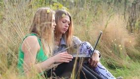 Θηλυκοί φίλοι με το lap-top υπαίθριο. απόθεμα βίντεο