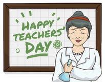 Θηλυκός δάσκαλος επιστημών που γιορτάζει Teachers& x27  Ημέρα, διανυσματική απεικόνιση Στοκ Φωτογραφίες
