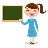 Θηλυκός δάσκαλος κινούμενων σχεδίων που στέκεται δίπλα σε έναν πίνακα στοκ εικόνα