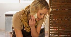 Θηλυκός αγγειοπλάστης που παίρνει μια διαταγή στο κινητό τηλέφωνο απόθεμα βίντεο