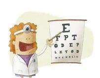 Θηλυκός γιατρός οφθαλμολόγων που δείχνει σε ένα διάγραμμα δοκιμής όρασης Στοκ Φωτογραφίες