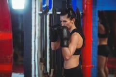 Θηλυκός εγκιβωτισμός άσκησης μπόξερ με punching την τσάντα Στοκ Εικόνες