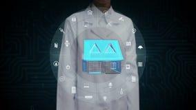 Θηλυκός επιστήμονας, μηχανικός σχετικά με την έξυπνη εγχώρια συσκευή IoT, Διαδίκτυο των πραγμάτων, τεχνητή νοημοσύνη φιλμ μικρού μήκους