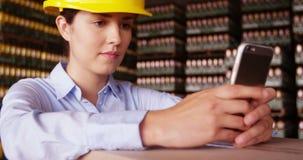 Θηλυκός επόπτης που χρησιμοποιεί το κινητό τηλέφωνο στην αποθήκη εμπορευμάτων απόθεμα βίντεο