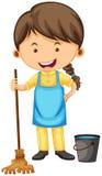 Θηλυκός καθαριστής με τη σκούπα και τον κάδο ελεύθερη απεικόνιση δικαιώματος