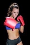 0 θηλυκός μαχητής με τα γάντια Στοκ φωτογραφία με δικαίωμα ελεύθερης χρήσης