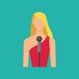 Θηλυκός μουσικός με το microphon Τραγουδώντας είδωλο κοριτσιών Διανυσματικό illu Στοκ φωτογραφίες με δικαίωμα ελεύθερης χρήσης