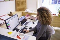 Θηλυκός σχεδιαστής που ενεργοποιεί το σύστημα CAD για τον κόπτη λέιζερ στοκ εικόνα με δικαίωμα ελεύθερης χρήσης