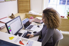 Θηλυκός σχεδιαστής που ενεργοποιεί το σύστημα CAD για τον κόπτη λέιζερ στοκ εικόνα