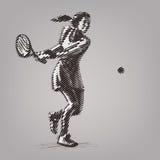 Θηλυκός τενίστας με τη ρακέτα ελεύθερη απεικόνιση δικαιώματος