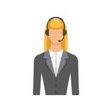 Θηλυκός τηλεφωνικός χειριστής υποστήριξης πελατών στην κάσκα - διανυσματικό επίπεδο εικονίδιο που απομονώνεται Στοκ φωτογραφία με δικαίωμα ελεύθερης χρήσης