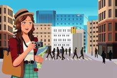 Θηλυκός τουρίστας το καλοκαίρι απεικόνιση αποθεμάτων