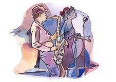Θηλυκός τραγουδιστής και αρσενικό saxophonist Απεικόνιση αποθεμάτων