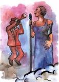 Θηλυκός τραγουδιστής της Jazz και trumpeter Απεικόνιση αποθεμάτων