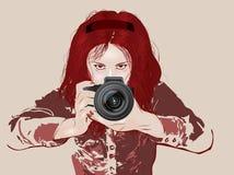 Θηλυκός φωτογράφος ελεύθερη απεικόνιση δικαιώματος