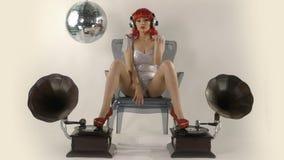 Θηλυκός χορευτής disco Beautfiul απόθεμα βίντεο