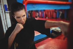 Θηλυκός karate εγκιβωτισμός άσκησης φορέων με punching την τσάντα Στοκ φωτογραφίες με δικαίωμα ελεύθερης χρήσης
