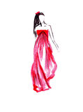 Θηλυκό απεικόνισης σε ένα μακρύ κόκκινο φόρεμα με τα λουλούδια στην τρίχα της Στοκ φωτογραφία με δικαίωμα ελεύθερης χρήσης