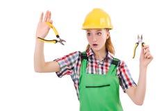 Θηλυκό εργατών οικοδομών με τις πένσες Στοκ Εικόνες