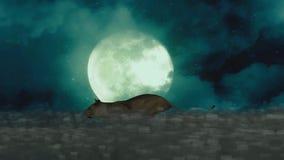 Θηλυκό λιοντάρι που τρέχει μέσω της νύχτας σε ένα υπόβαθρο πανσελήνων διανυσματική απεικόνιση