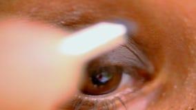 Θηλυκό καφετί μάτι που κάνει τη σύνθεση Μακρο τηλεοπτικός χρόνος απόθεμα βίντεο