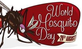 Θηλυκό κουνούπι πέρα από το σημάδι και κορδέλλα για την ημέρα παγκόσμιων κουνουπιών, διανυσματική απεικόνιση Στοκ φωτογραφίες με δικαίωμα ελεύθερης χρήσης