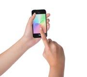 Θηλυκό κράτημα χεριών και σχετικά με στο έξυπνο τηλέφωνο Στοκ εικόνα με δικαίωμα ελεύθερης χρήσης